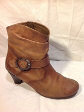 Tamaris Brown Ankle Leather Boots Size 39