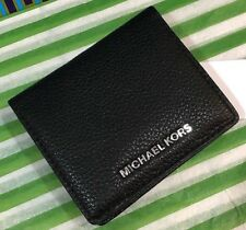 NEW$88 MICHAEL KORS MK BLACK BEDFORD CARRY ALL LEATHER BIFOLD WALLET CARD CASE