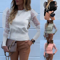 Womens Mesh Sheer Puff Sleeve Ribbed Pearl Jumper Tops T Shirt Blouse New 2 xi