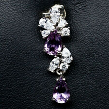 NATURAL 5 X 8mm. PURPLE AMETHYST & WHITE CZ STERLING 925 SILVER PENDANT