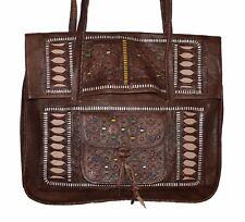 Moroccan Leather Shoulder Bag Handbag Purse Carved Tooled Strap Design Brown