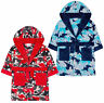 Boys Dinosaur Dressing Gown Kids New Fleece Hooded Robe Red Blue Age 2 3 4 5 6 Y