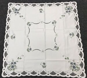 """Polyester Lace Floral Embroidered Gray Rose 42x42"""" Square Embroidery Tablecloth"""