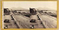 Italia Napoli Marina Ca 1865 Foto Michele Amodio Stereo Vintage Albumina