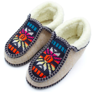 Stone Village Winter Warm Plush Slippers Print Knitted Home Soft Bottom Cotton 6