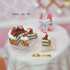 1:12 Dollhouse Miniature Chocolate Cake with Stem Cherries, Sliced/ BD K2208
