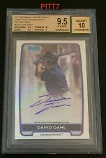 DAVID DAHL RC AUTO 2012 BOWMAN CHROME DRAFT REFRACTOR GRADED BGS GEM MINT 9.5/10