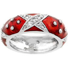 Silver Plated Red Enamel Eternity Ring Band Stackable Cubic Zirconia Size 9 USA