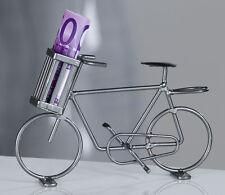 Modell-Fahrrad aus Metall silbergrau Geldgeschenk Geldbote Spardose Sparschwein