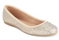 size 5 Style & Co. Angelyn Gold Embellished Ballet Flat Slip On Womens Shoes