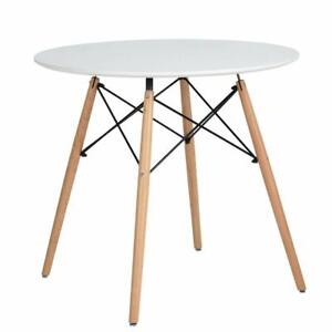Round Top Dining Table Kitchen Table with Solid Beech Legs, Coffee Table White