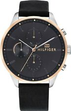 Tommy Hilfiger men Grey Dial Black Leather Strap Watch 1791488 RRP £150