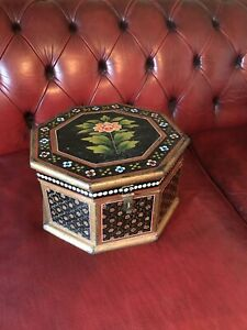 20th Century hand Painted Anglo Indian Wedding Box