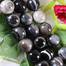 "10mm Black Stripe Agate Onyx Gems Round Loose Beads 15"""