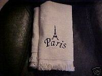 Embroidered Eiffel Tower/Paris towels - Off WhiteBlack