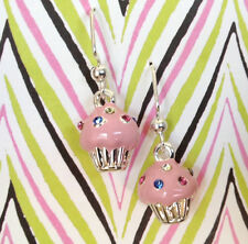 **PINK CUPCAKES WITH CRYSTALS** Silver Plated Dangle Earrings ~~USA Seller