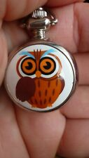 women ladies fashion mini owl necklace pocket watch vintage style long chain