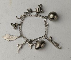Vintage Sterling Silver Charm Bracelet w/ 10 Sterling Silver Charms -28g grams-