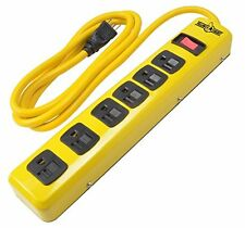 Yellow Jacket 5139 6-Outlet Heavy Duty Metal Power Strip, 6-foot High Visibility