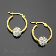 Crystal Unbranded Hoop Yellow Gold 14k Fashion Earrings