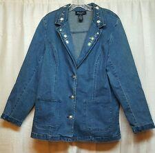 Denim & Co Womens Large Jean Jacket Blue Denim Embroidered Flowers On Collar 141