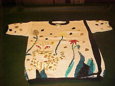VINTAGE LADIES BEAUTIFUL BEIGE KNIT SWEATER WITH CAT & FLORAL DESIGN LAST ONE M.