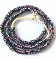 Ghana handmade recycled glass Black stripes disk African Trade Beads