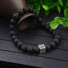 Men Women Lucky Lava Stone Yoga Energy Wrist Mala Square OM Beaded Bracelets New