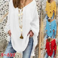 Women Fashion Top Plus Size Loose Puff Long Sleeves Blouse V-neck White 2XL