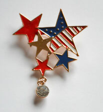Star Pendent / Gold-tone / Usa American Patriotic Red ~ White & Blue