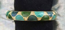 Blue & Green Enamel & Crystal Rhinestone Gold-tone Hinged Bracelet 1990s vint.