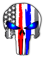"Punisher Skull Police & Fire Sticker Blue Red Thin Line Vinyl Decal USA 5"" tall"