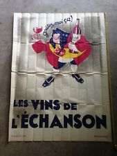 Vintage Poster RED WINE France VINS DE L'ÉCHANSON 1932 lithography french seller