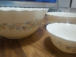 Vintage retro 3 piece  Arcopal France Set bowl milk glass floral