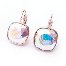 Earrings w/ 12mm Cushion Cut Swarovski Rainbow Ab Rose Gold Plated Crystal Drop