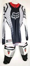 Men Fox Racing Motorcross Suit 2 piece Top Sz M Pants Sz 30 White Grey Red Black