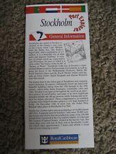 Stockholm Sweden, Royal Caribbean, Port Explorer, Map / Brochure, 1994