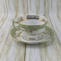 VTG TF & S Phoenix Fine Bone China Tea Cup and Saucer Mint Green and Gold Floral