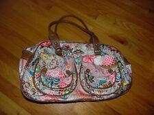 OILILY Logo Floral Lg Duffel Bag Purse Tote Multi Purpose Bag Gray Floral EXC