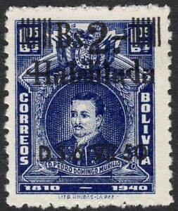 1950 Bolivia SC# 333 - No. 273 Surcharged in Black - M-H