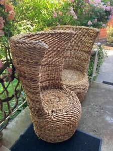 2x Wicker / Cane Unique Vintage Chairs. Very Solid