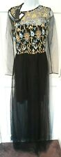 WOMEN'S DESIGNER DRESS PINKO BRETAGNE MAXI DRESS BLACK SIZE 46