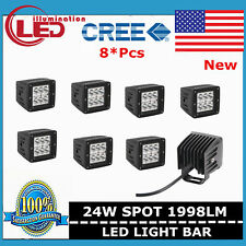 8X 24W 3inch LED Work Light Spot Pods Off-Road JEEP 3x3 SUV Ford Square 4WD Fog
