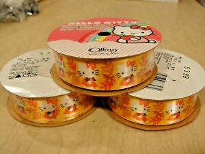 """NWT Lot of 3, Hello Kitty Fall/Autumn Leaves Ribbon 7/8""""x9'=27"""" 100% Polyester"""