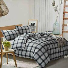 HIGHBUY Luxury Plaid Pattern Flannel Bedding Duvet Cover Set Queen Soft Cotton
