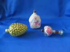 Christmas Glass Ornaments Vintage Old World Qty 3 House + Berry Cluster + Shape