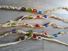Beads Beaded Necklaces Various Length Tie On Lot of 5 Handmade Hemp & Glass