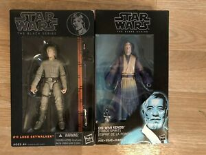 "STAR WARS BLACK SERIES 2014 LUKE SKYWALKER #11 ORANGE LINE 6"" FIGURE w/ KENOBI"