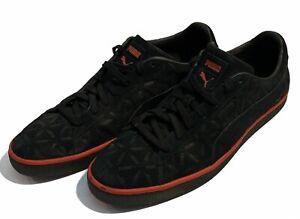 Puma Suede Mens Black/Red Trim  Size 12 Puma Print All Over
