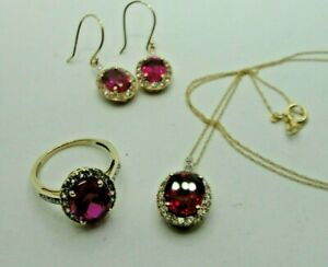 10kt Yellow Gold Chatham Ruby & White Sapphire Ring Earring Necklace SET 9cts